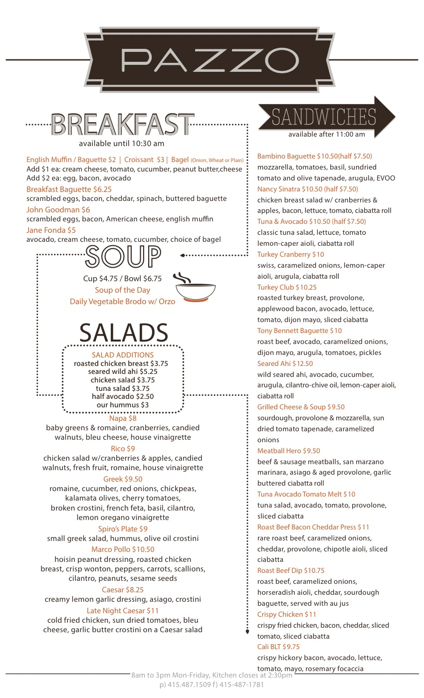 Pazzo Menu- January 2017
